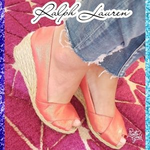 6.5 ralph lauren wedge espadrille heel shoes peep